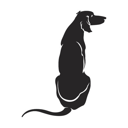eps8: The silhouette figure sitting dog. Vector EPS8