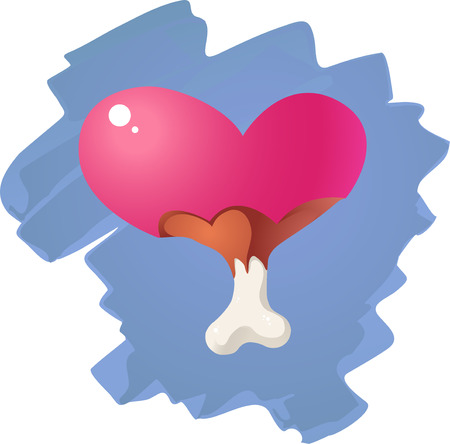 meat lover: Valentines Day conceptual symbol. Heart and bones sign like eskimo pie.
