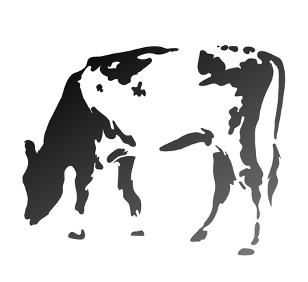 The cow chews a grass. Simple silhouette. Illustration