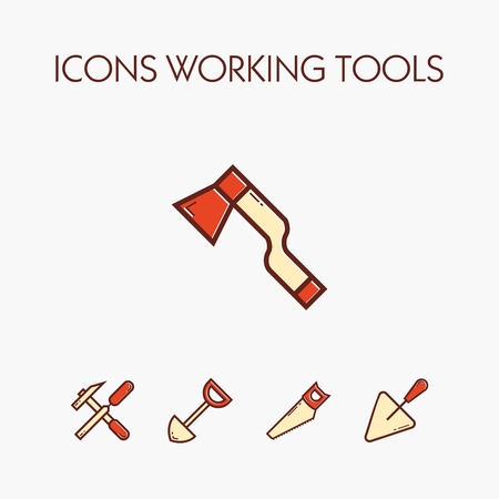 Icons of various working tools. EPS 10