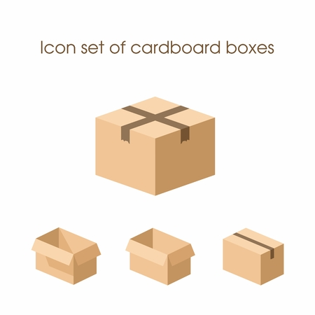 Cardboard boxes in three different under different uses .