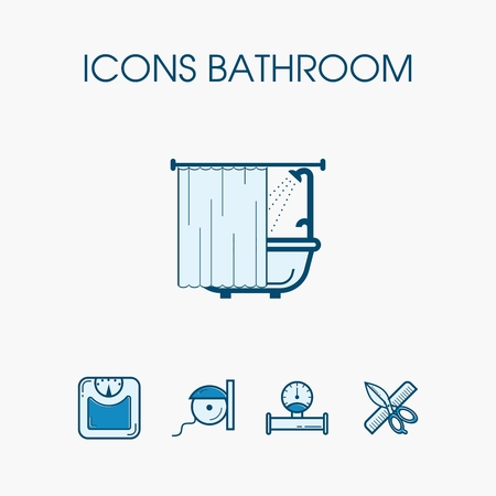 sanitary towel: Icons equipment and items for the bathroom