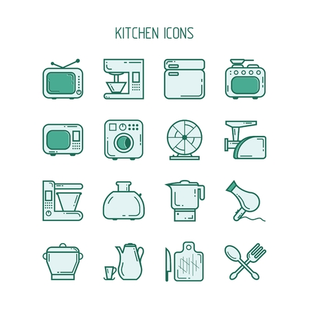 egg cups: Set of icons in the form of objects and appliances for the kitchen