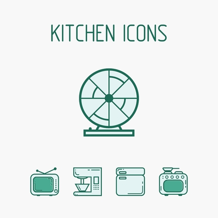 continental food: Set of icons in the form of objects and appliances for the kitchen