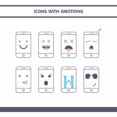 sobbing: Set of icons with phone emotions . Perfect for social networking or emoticons for individual projects .