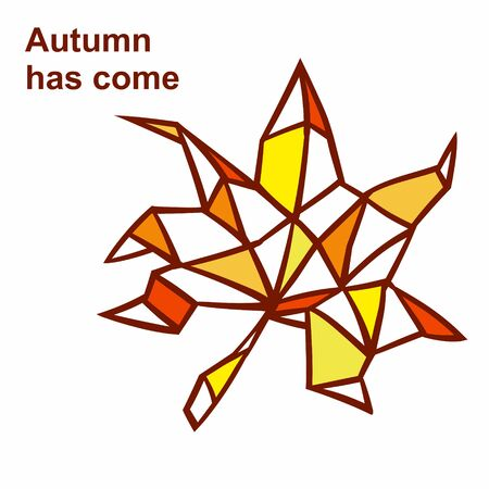 autumn leaf in the abstract representation . Split into landfills in various shades of yellow. EPS 8