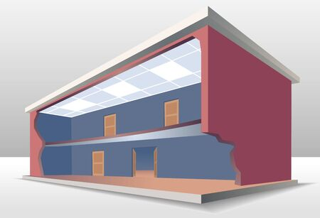 simple cross section: The building cross section. Look inside the house. Esolated vector illustration EPS8 Illustration