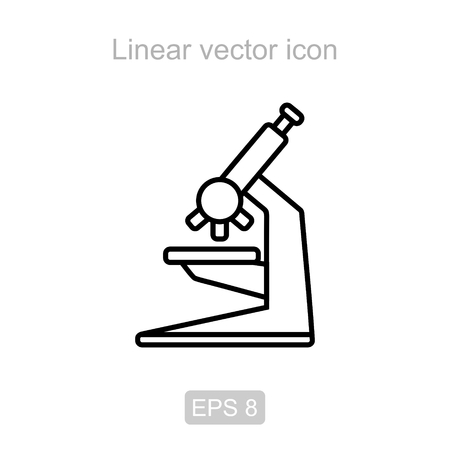 biochemical: Icon of the microscope in a linear style Illustration
