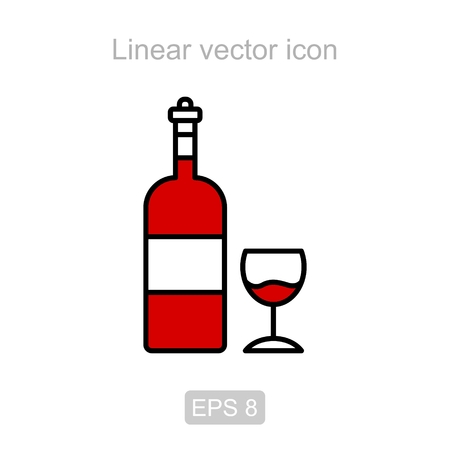 Icon of the wine bottle and wine glass in a linear style