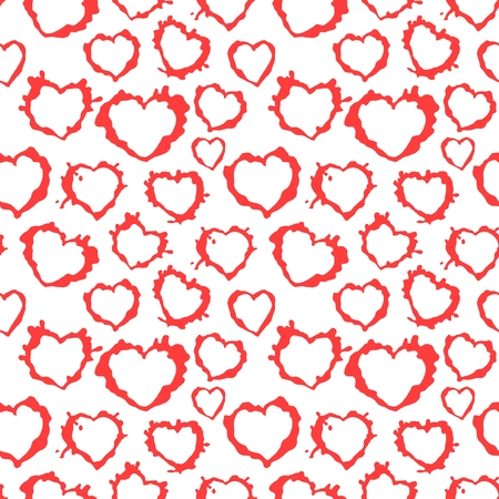 Seamless texture of hearts-blots on a white background Illustration