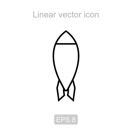 Icon of the rocket in a linear style 矢量图像
