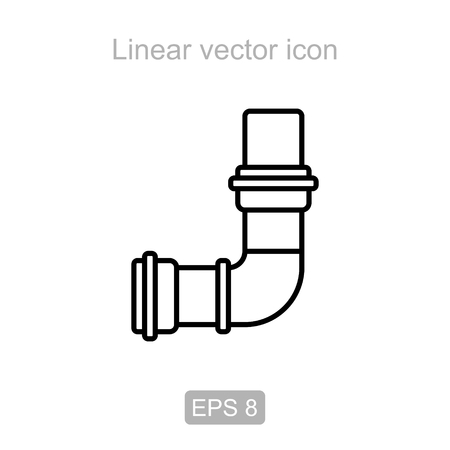 sewage system: Icon of the angle pipe in a linear style