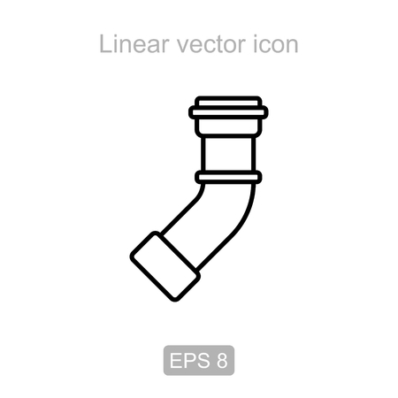 sewage system: Icon of the angle pipe - 45 degrees in a linear style