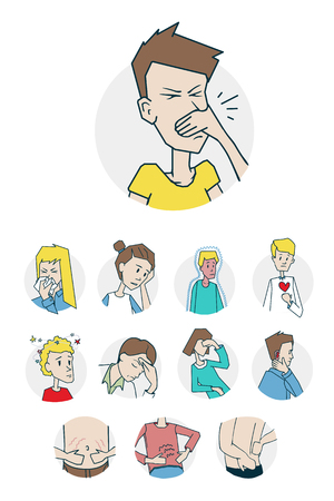 Diseases and illnesses icons set Illustration
