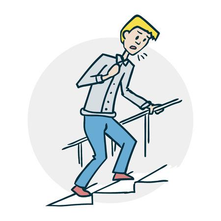 남자는 계단을 올라간다. 그는 숨이 가쁘다. 의료 과목에 아이콘입니다. 재미있는 만화 스타일의 그림