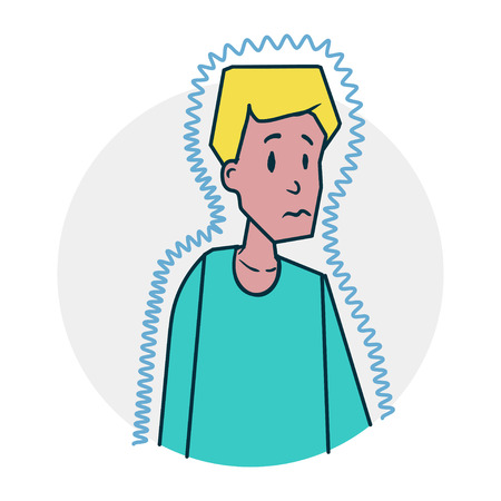 Boy in lohom health. It may be cold. Illustration of a funny cartoon style