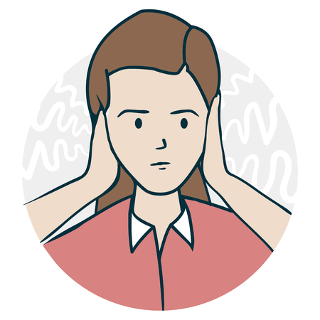 She covered her ears. Problems with hearing and deafness. Illustration of a funny cartoon style Stock Photo