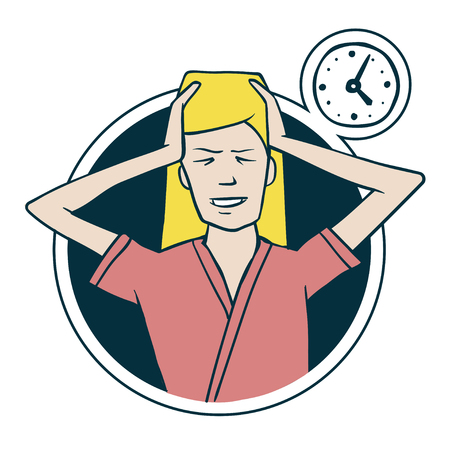 for lost time. Screaming woman and clock. Illustration in cartoon style Illustration