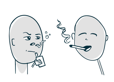 competitors: Smoker and viper met face-to-face. Illustration sketch style