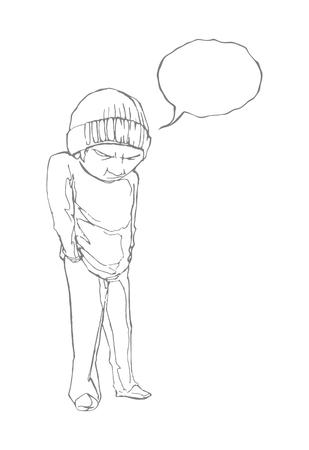 ダイアログ バブルとホームレスの少年。線の描画。EPS 8