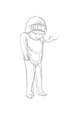 Homeless boy with a cigarette. Line drawing. EPS 8