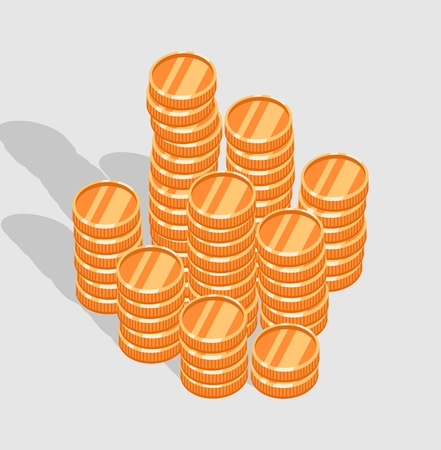 stack of gold coins. Grey background