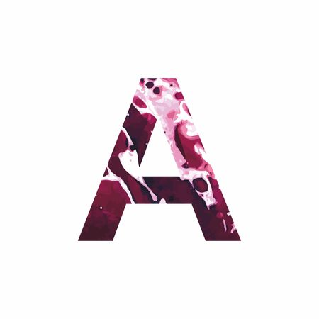 Abstract letter A on a white background in the form of stains of paint. Reminiscent of marble Illustration