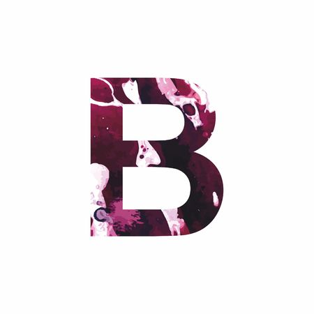 Abstract letter B on a white background in the form of stains of paint. Reminiscent of marble