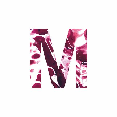 Abstract letter M on a white background in the form of stains of paint. Reminiscent of marble Illustration