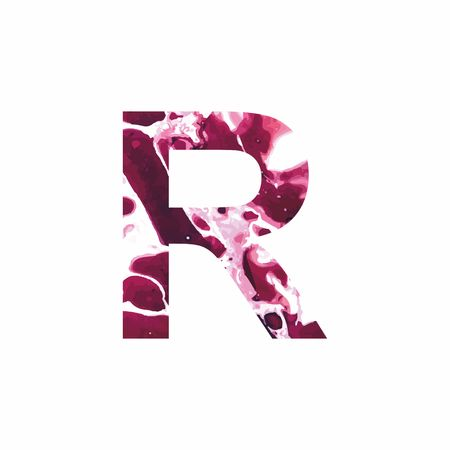 Abstract letter R on a white background in the form of stains of paint. Reminiscent of marble Illustration