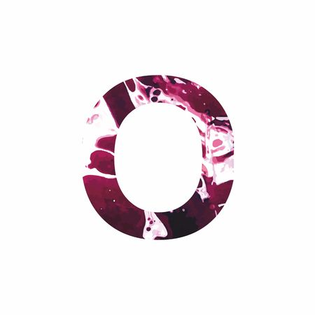 Abstract letter O on a white background in the form of stains of paint. Reminiscent of marble
