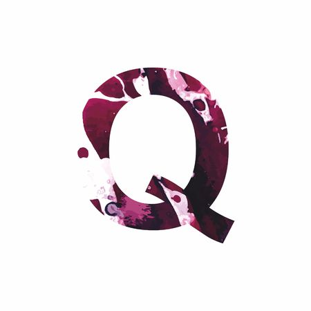 Abstract letter Q on a white background in the form of stains of paint. Reminiscent of marble