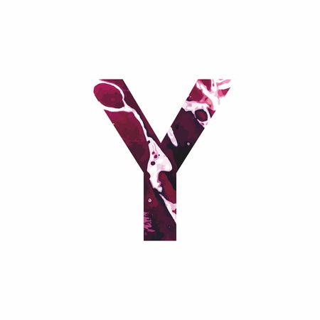 Abstract letter Y on a white background in the form of stains of paint. Reminiscent of marble Illustration