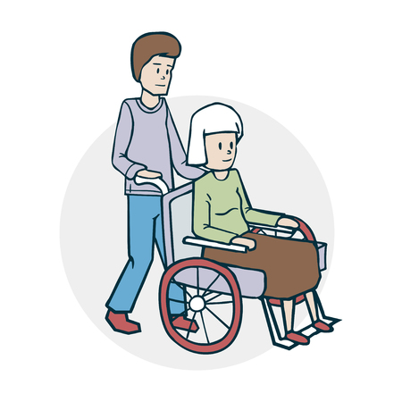 An elderly woman and a nurse