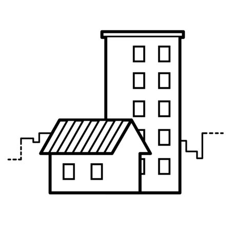 real: single-storey and multi-storey houses line vector icon EPS8 Illustration