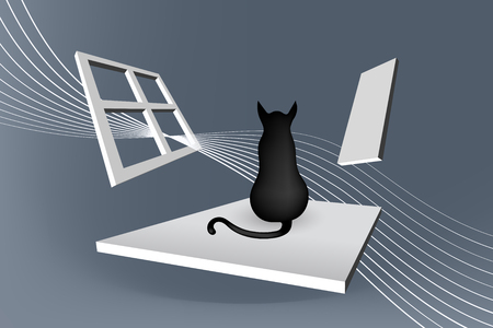 Cat sitting abstract illustration, Vector Art composition
