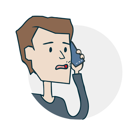 Man is talking on the phone sticker