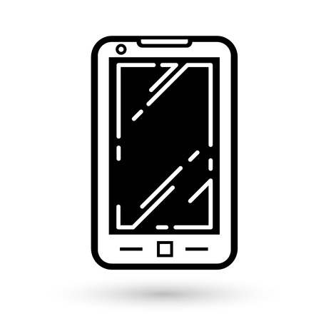 Mobile phone linear icon on white background, vector illustration. Vettoriali