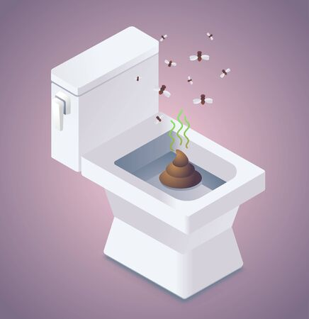 Shit in the toilet and flies illustration Imagens