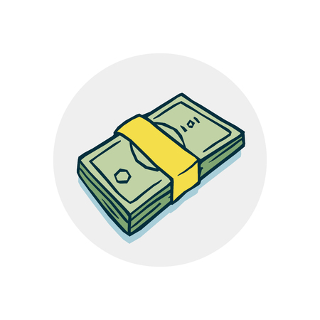 bundle of money icon. Vector illustration of a funny cartoon style