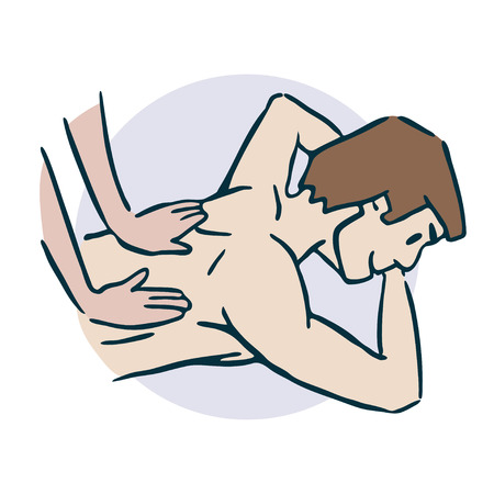 Do a back massage with your hand's sticker.