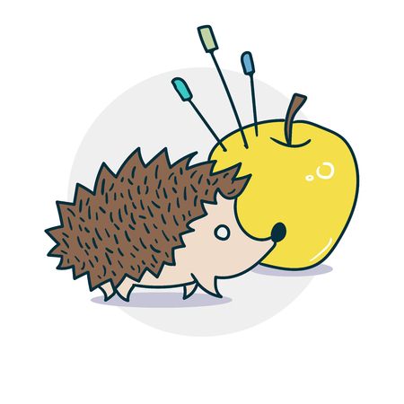 Hedgehog and apple acupuncture concept Illustration