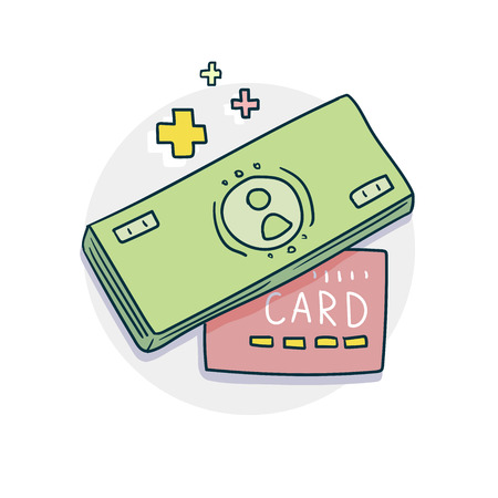A bundle of money and credit card icon