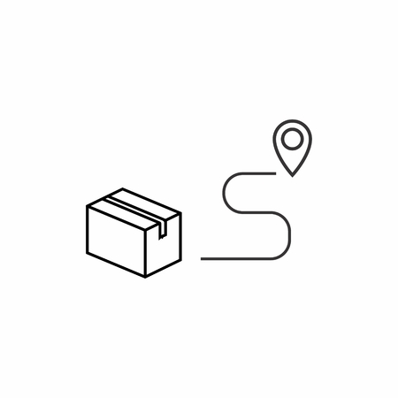 Linear icon of delivery of goods to the point of destination