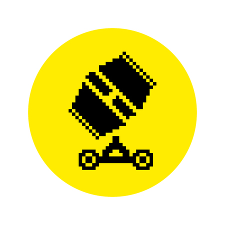 Silhouette of concrete mixer icon in pixel style. Vector illustration Stock Illustratie