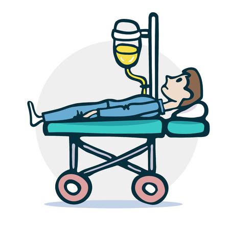 Le patient est allongé sur une poussette d'hôpital sous une illustration de compte-gouttes. Icône de vecteur Eps8
