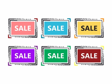 A set of banners of different colors for holding promotions, sales. In a set of six pieces, Christmas sale