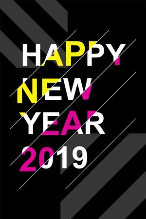 Bright poster for the new year 2019. Modern style, the effect of the glitch.