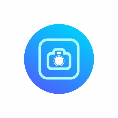 Camera icon on round blue background. Modern icon on an isolated background.
