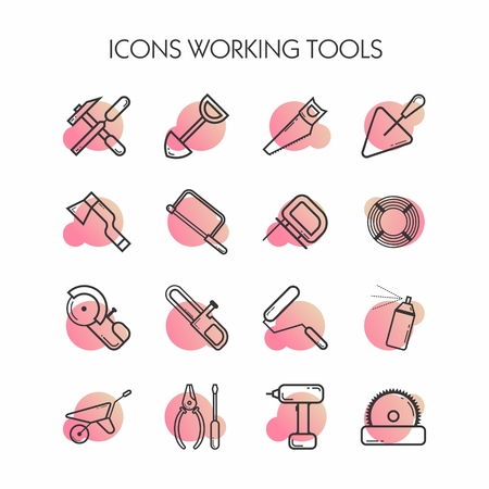 Set of construction icons. Linear isolated icons. Background gradient under each icon. Modern style